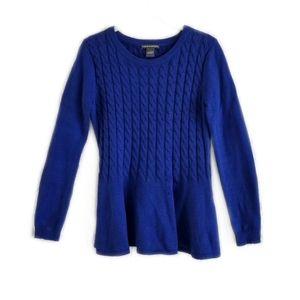 Chelsea & Theodore blue peplum sweater small